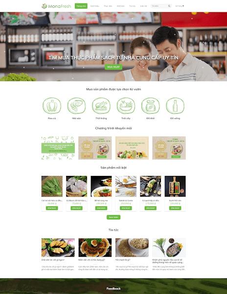 Mẫu giao diện blog bán nông sản sạch