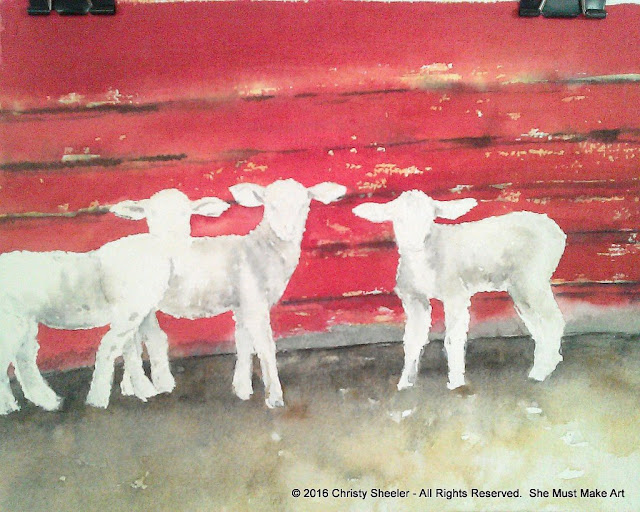 Watercolor painting of lambs before lifting watercolor from select areas.
