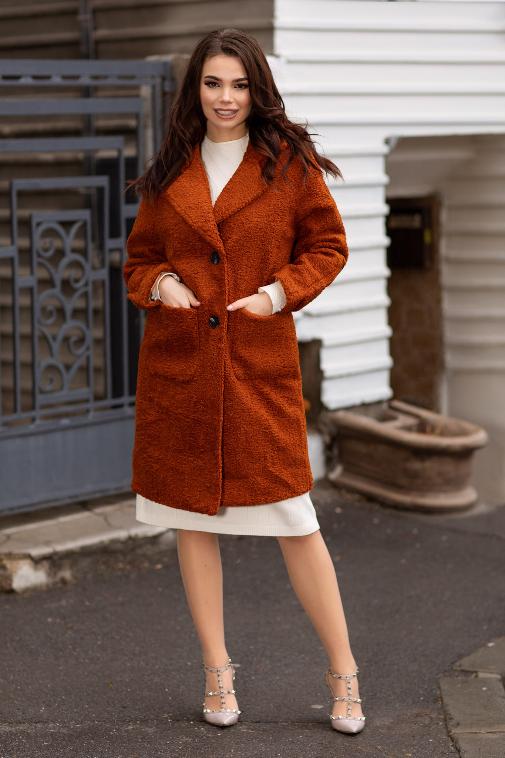 Palton caramiziu lung de dama din imitatie de lana pentru iarna