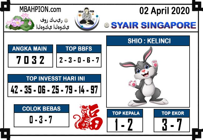 Prediksi SGP Kamis 02 April 2020 - Syair Mbah Pion