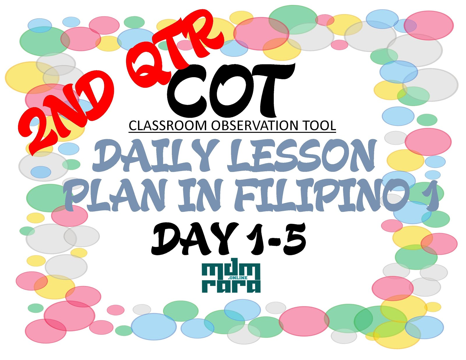 Cot Daily Lesson Plan In Filipino 1 2nd Quarter Day 1 5