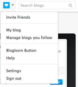 a screenshot of the main bloglovin' dropdown menu