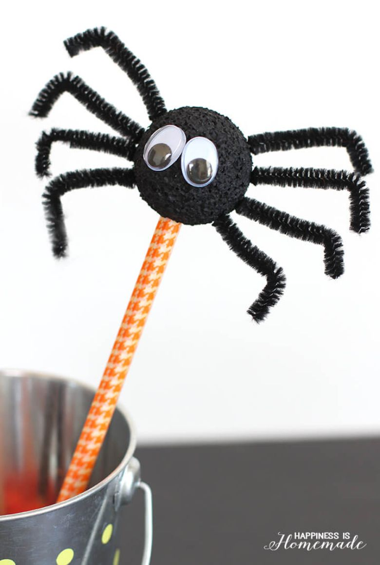 spider pencils Halloween craft