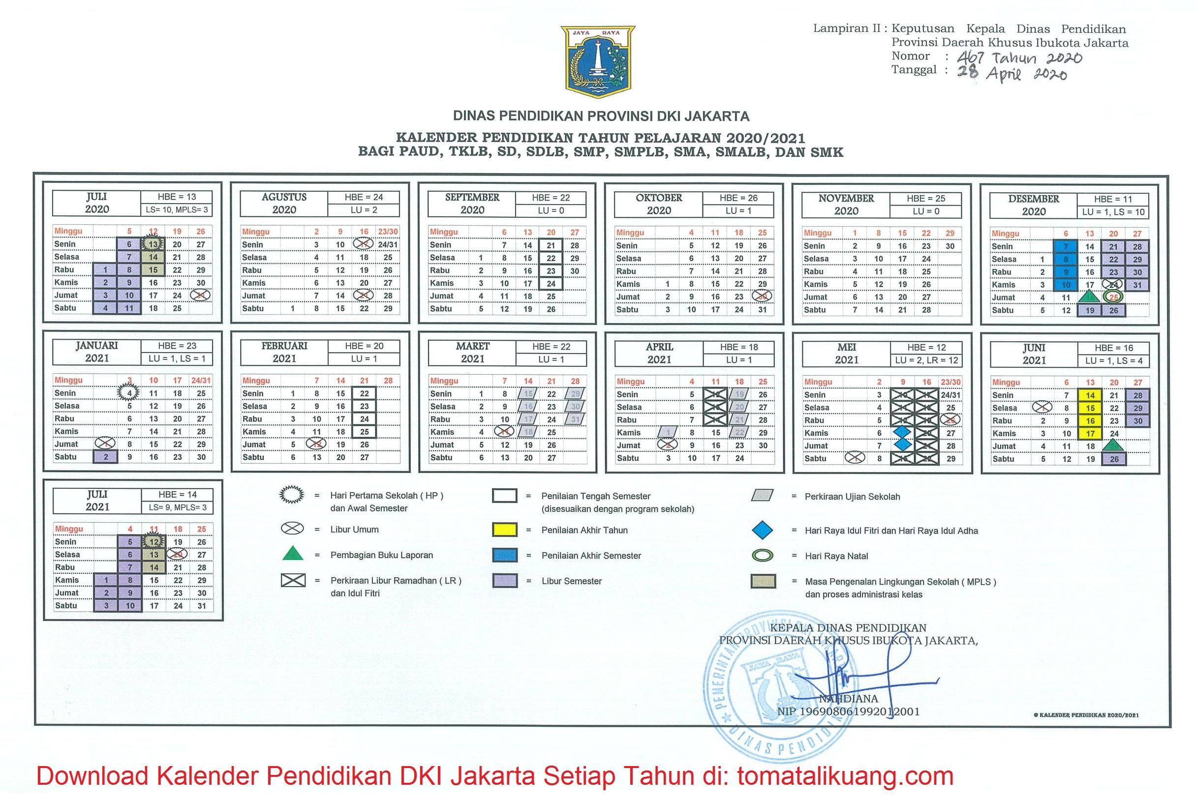 Download Kalender Pendidikan 2020 2021 Dki Jakarta Pdf Semua Jenjang