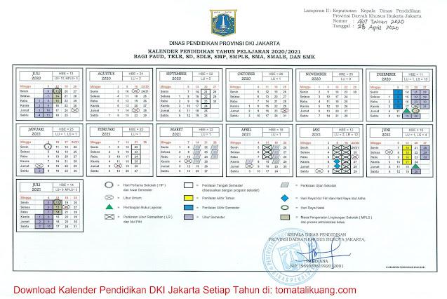Kalender Pendidikan DKI Jakarta 2020/2021 Bagi PAUD, TKLB, SD, SMP, SMPLB, SMA, SMALB, dan SMK