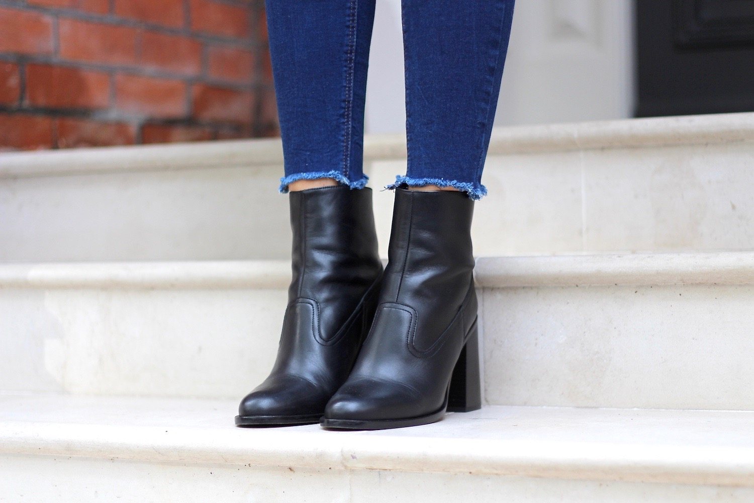 leather ankle boots new look frayed hems
