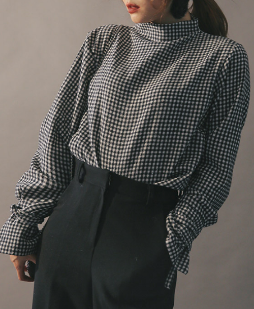 Mock Neck Self-Tie Cuff Blouse