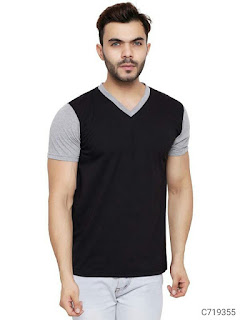 Cotton Blend Color Block/Solid T-Shirts