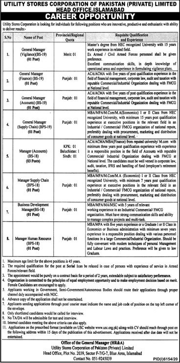 Latest New Jobs in Utility Stores Corporation USC of Pakistan  May 2021- Apply online