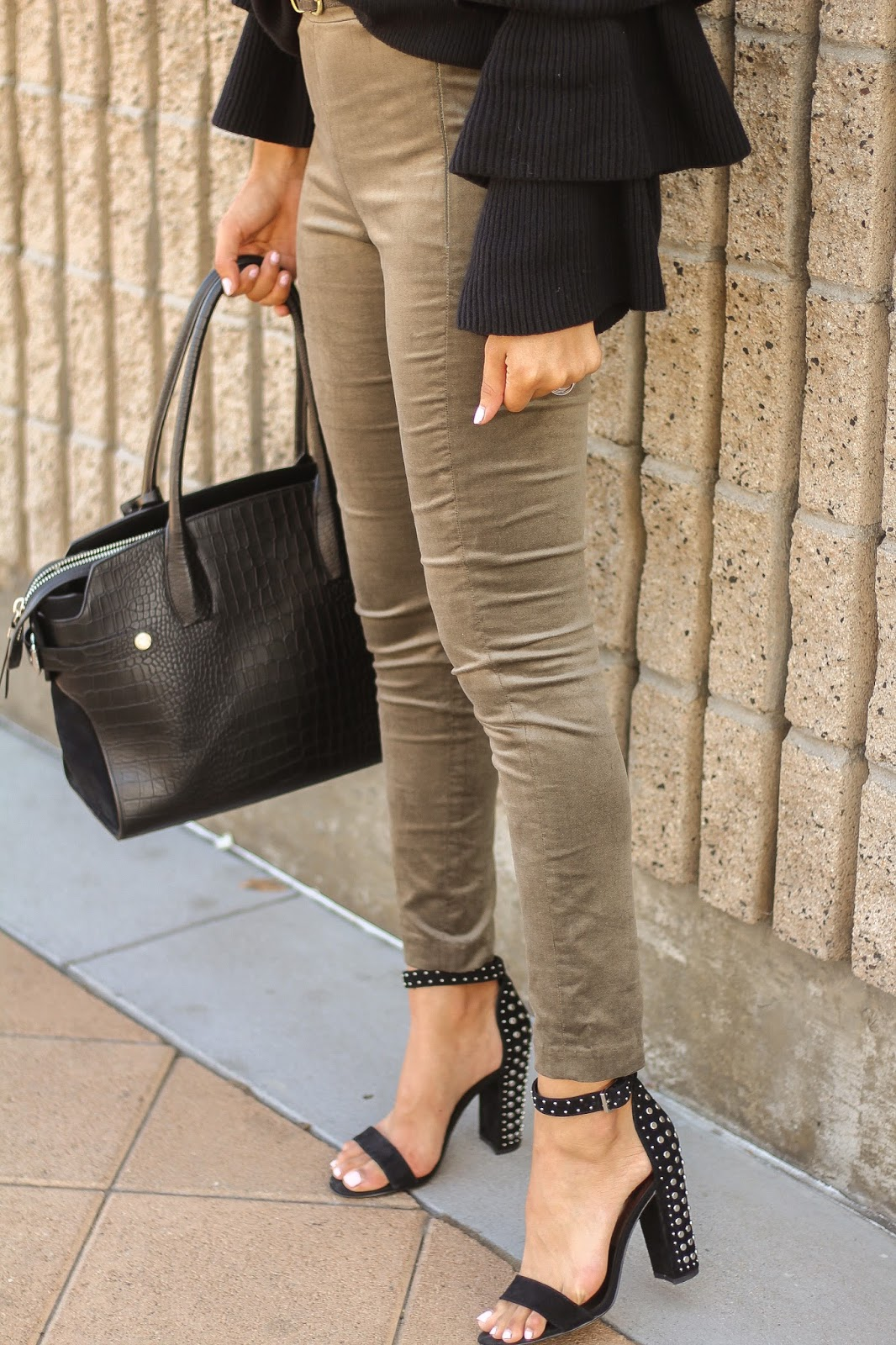 Velvet Pants and studded heels Outfit for Fall