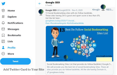 how to add Twitter card to Blogger