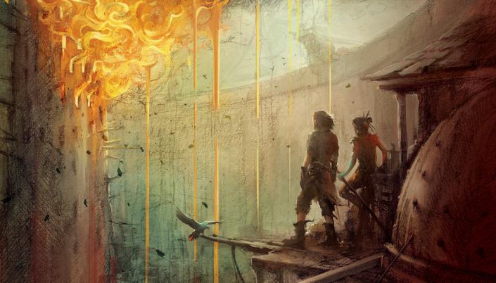 Imagem: ilustração de um homem de cabelos castanhos curtos e uma mulher de cabelos escuros compridos e amarrados em um coque, com um lenço vermelho amarrado em torno do pescoço, observando de longe as chamas consumirem uma torre cheia de janelas.