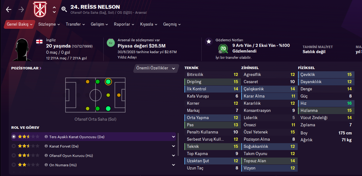 Reiss Nelson fm21 profile