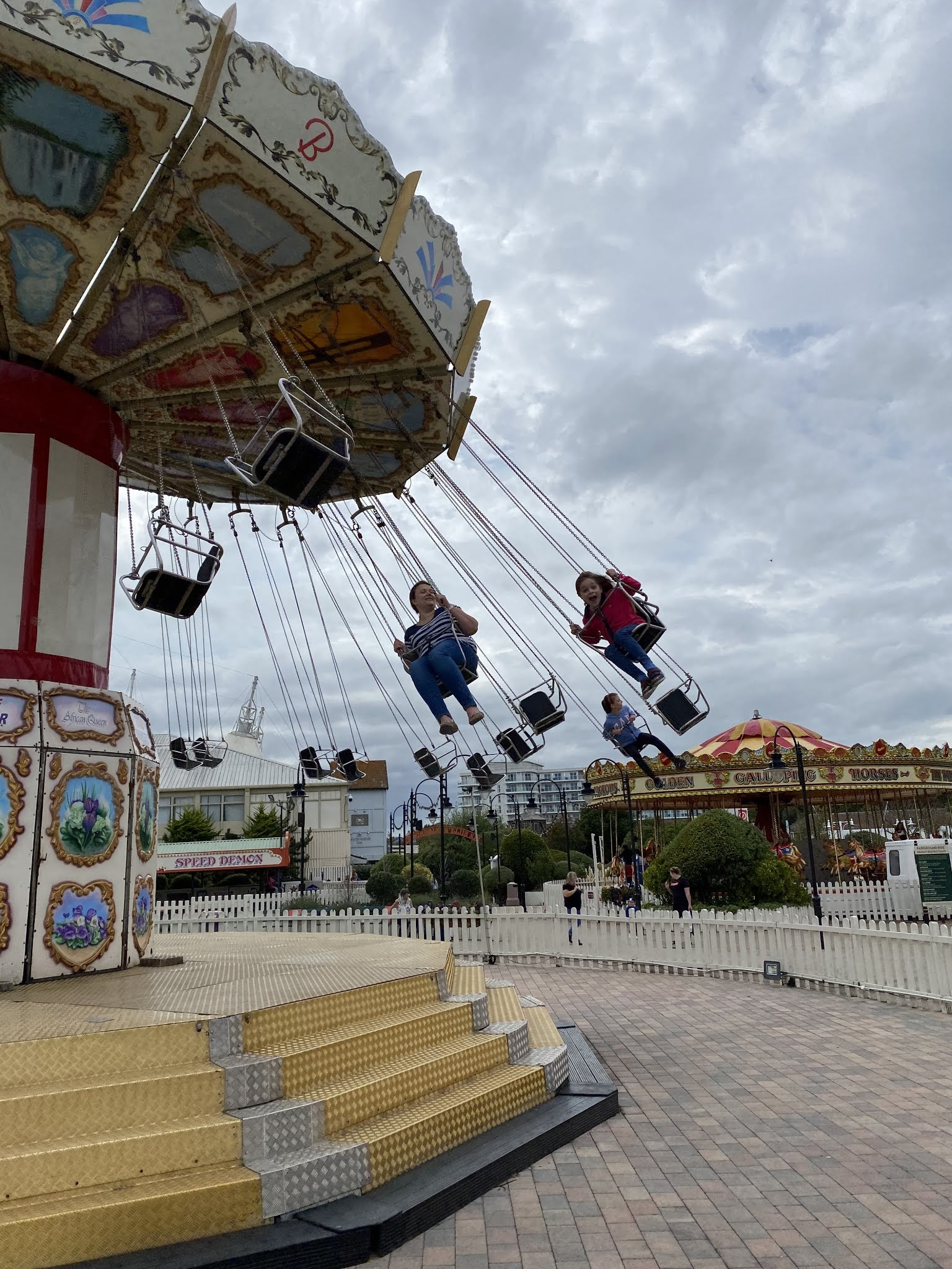 flying on a fairground ride