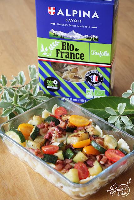 Lunch Box Pâtes Courgette Lardons et Tomates Degusta Box Degustabox Août 2019 Recette Gamelle Repas du Midi