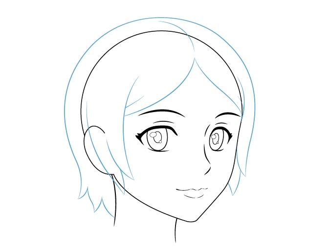 Anime tampilan rambut wanita 3/4 gambar