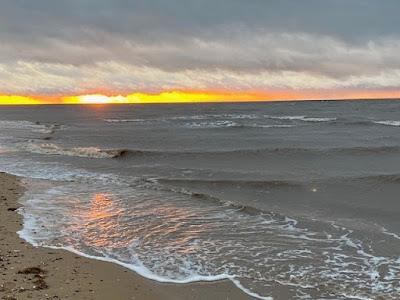 Old Hunstanton beach at sunset
