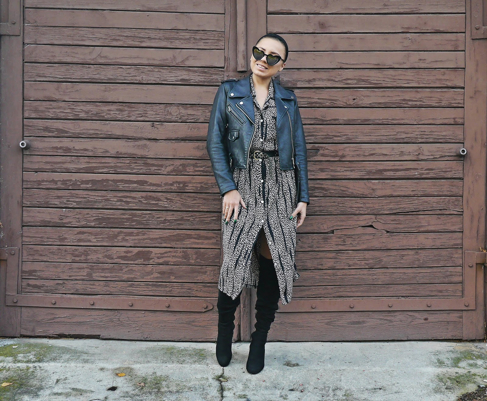 pattern dress autumn outfit look high knee boots karyn fashion blogger