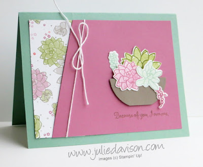 Stampin' Up! Oh So Succulent Garden Diagonal Cut Card #stampinup 2017 Occasions Catalog www.juliedavison.com