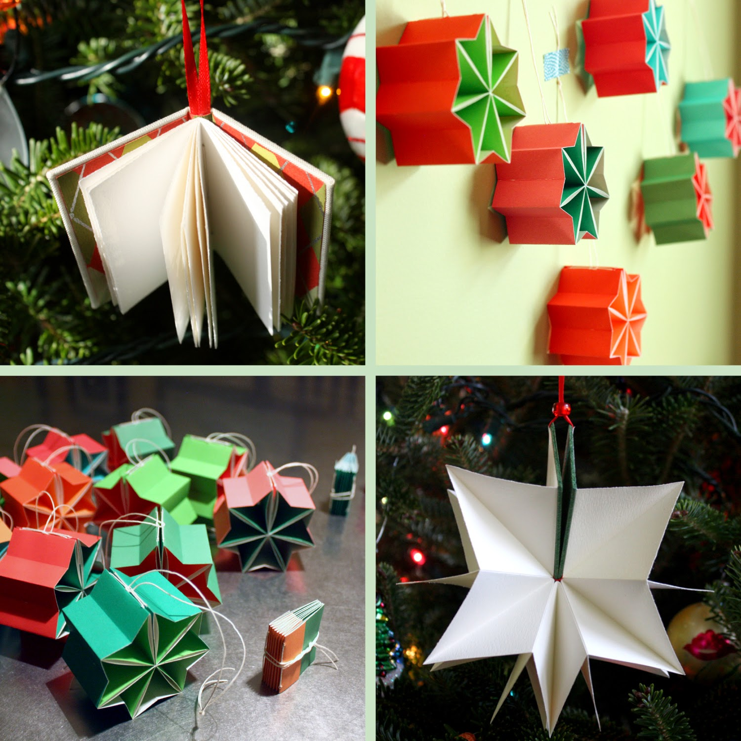 Hanmade book Christmas ornaments by linenlaidfelt in Nashville