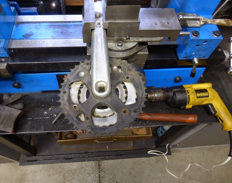 drilling out big sprocket from terrible riveted crank