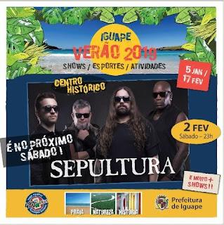 Sepultura é atração em festival gratuito de verão em Iguape , São Paulo