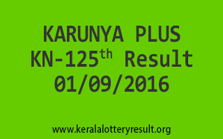 KARUNYA PLUS KN 125 Lottery Result 01-09-2016