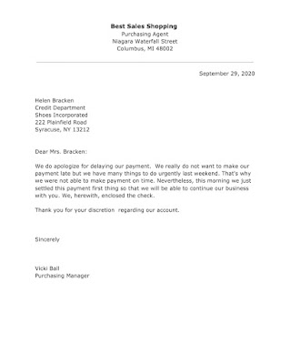 Apology Letter Template for Delaying Payment