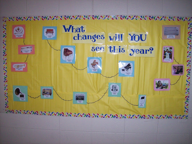 Bulletin board changes in music beginning of the year