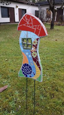 Gartenstecker aus Mosaik