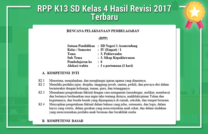 RPP K13 SD Kelas 4 Hasil Revisi 2017 Terbaru