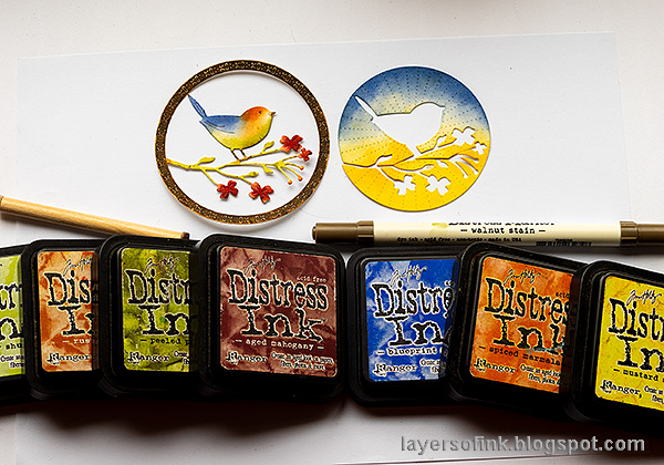Layers of ink - Inky Bird Art Journal Page by Anna-Karin Evaldsson. Ink with Distress Inks.