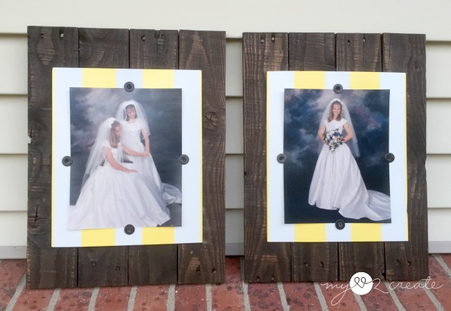Using pallet and scrap wood frames with vertical photos