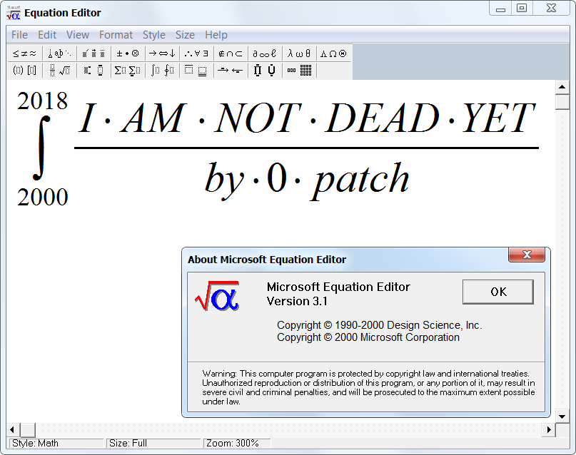 0patch Blog: Micropatching Brings The Abandoned Equation Editor Back