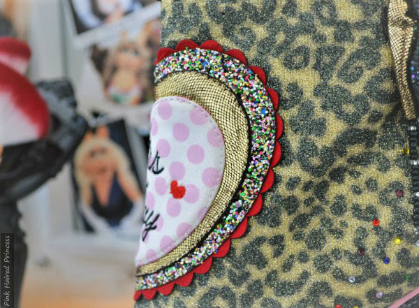 polka dot, metallic, glitter and suede scalloped applique heart