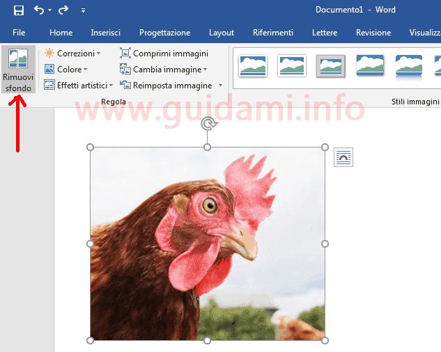 Microsoft Word pulsante funzione Rimuovi sfondo immagine