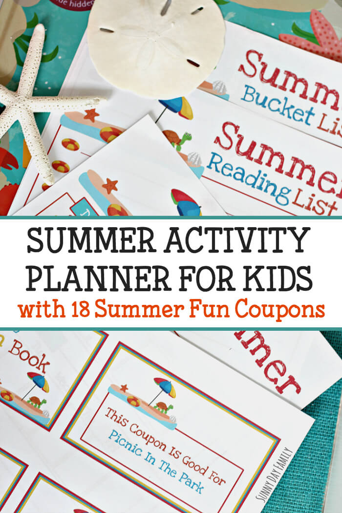 Keep track of your summer activities with this printable summer planner! Everything you need to plan a summer of fun including a printable summer coupon book! Great idea to keep kids on track all summer long.