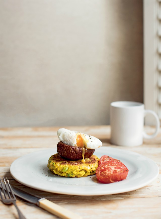 Paneer and Turmeric Corncakes with roasted mushrooms, tomatoes & poached egg recipe from Jo pratt's Flexible Vegetarian