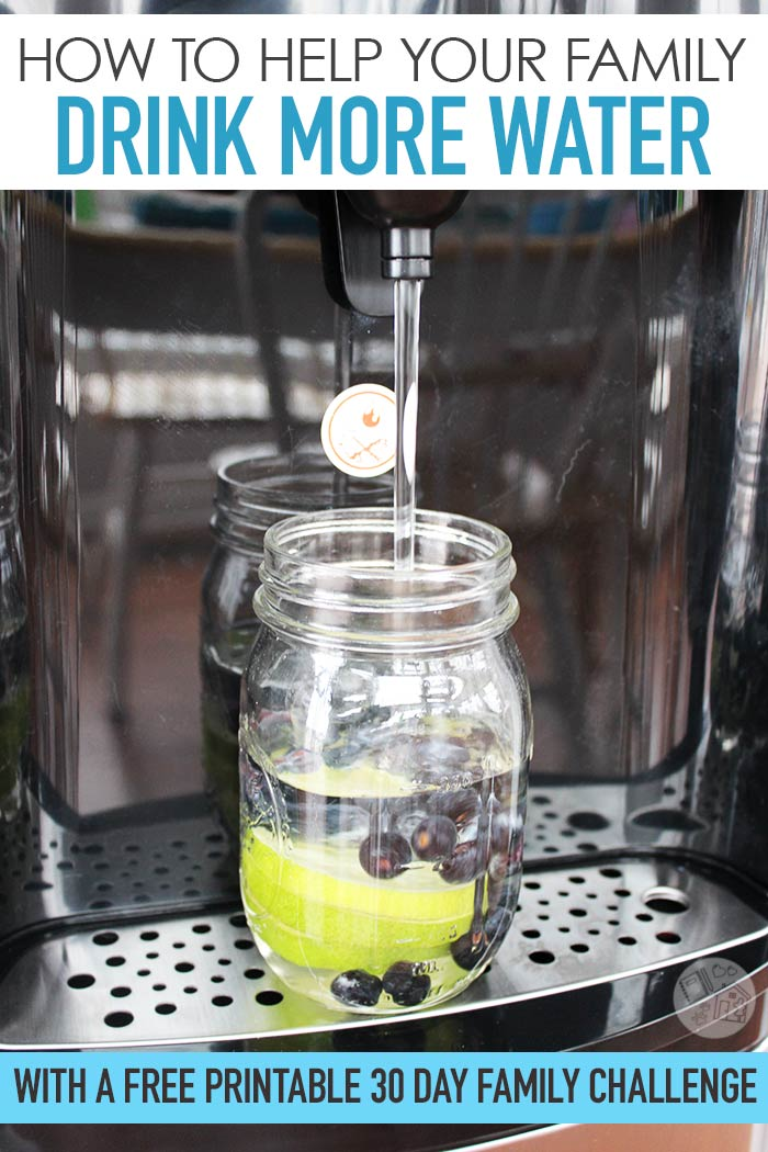 Help your family drink more water with a free printable family water challenge! See how you can set up an easy water station with an in-home water dispenser, how to make water taste better, and so much more. AD
