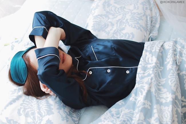 日本人ファッションブロガー,MizuhoK,OOSILK-,100%シルクパジャマ、アイマスクでウォークアップライクディス