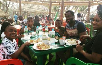 Aww! Desmond Elliot enjoys cute family time during Christmas holiday
