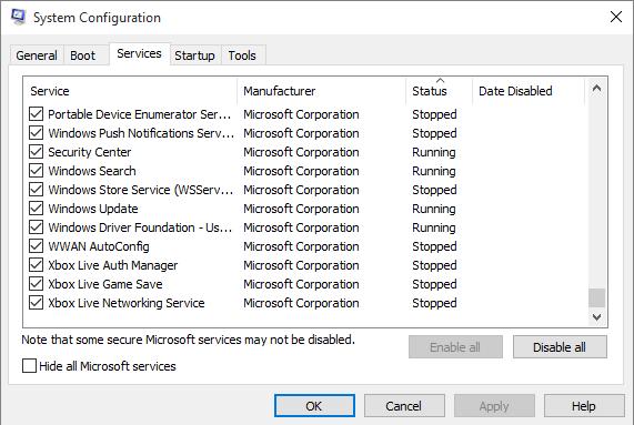 Tắt hết các dịch vụ khởi động cùng Windows
