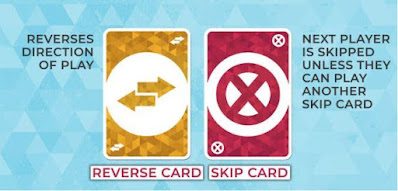 Special Cards : When the Reverse Card is played, the direction of the play changes. The Skip Card forces the next player to forfeit their turn unless they can counter with another Skip Card. Both cards can be played if they match the colour or the symbol on the top card of the pile