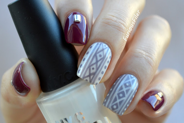 #31dc2015 pattern knitted studded jumper nails