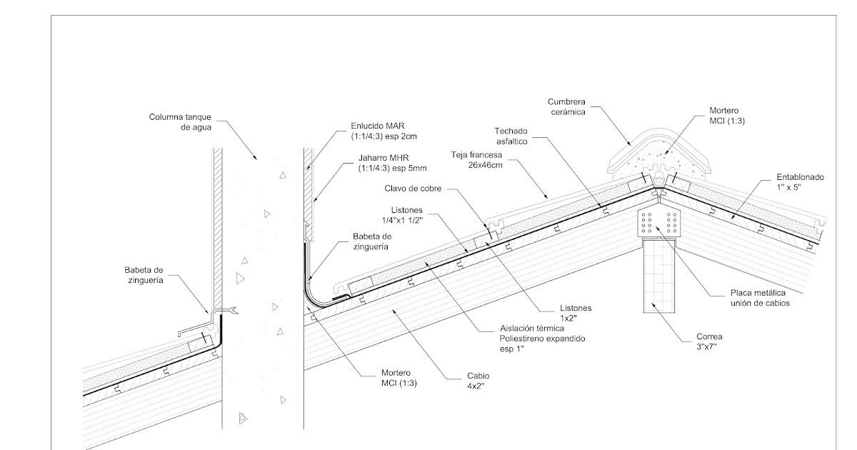 Detalles constructivos CAD: Detalles cubierta inclinada y