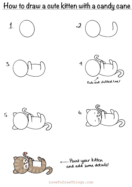 Easy things to draw. Beginner drawing tutorial. Easy kitten drawing
