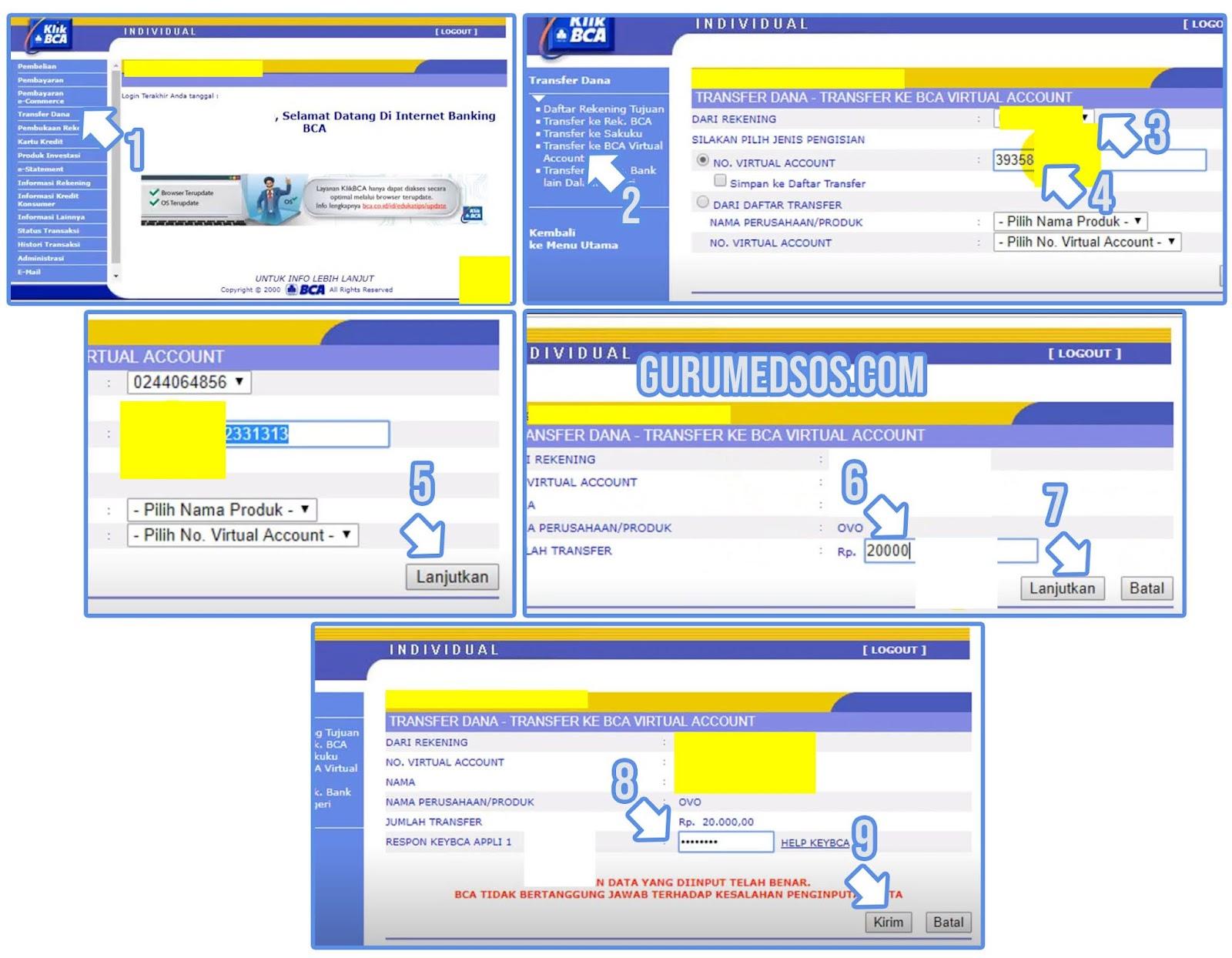 Cara Top Up OVO via Internet Banking BCA