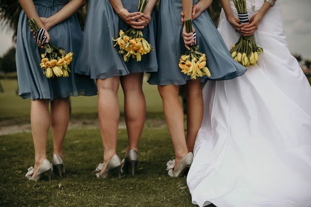 Bridesmaids pictured with flowers in Naples