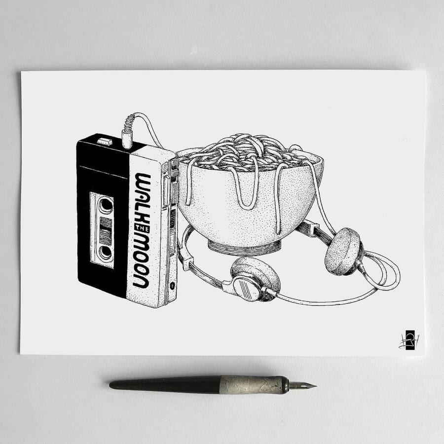 02-Retro-Walkman-Food-Art-Rudoi-www-designstack-co