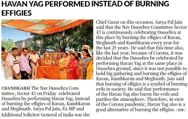 Havan Yag Performed instead of burning effigies